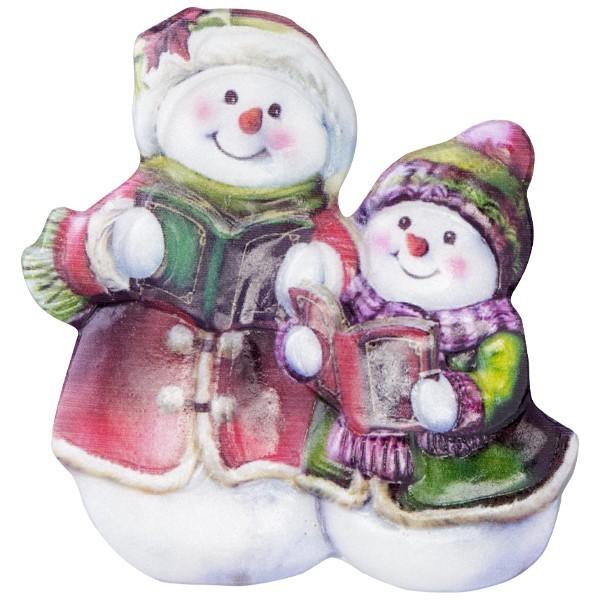Wachsornament Lustige Schneemänner 3, farbig, geprägt, 7cm