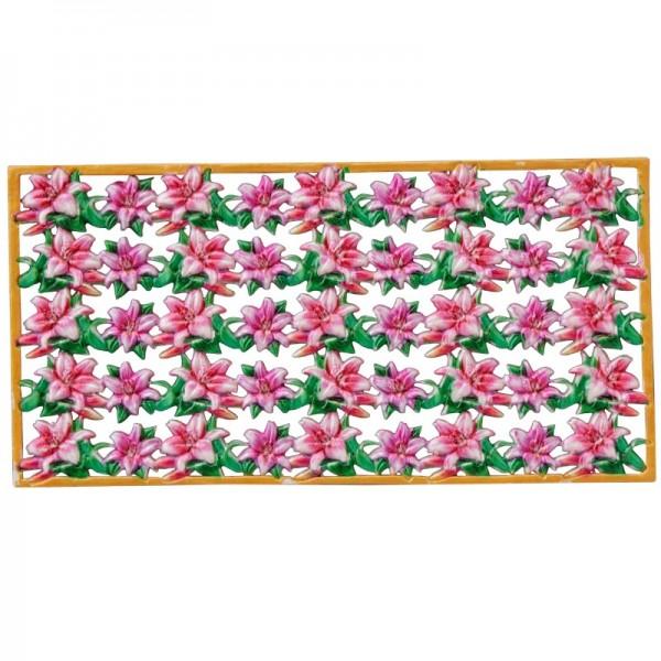 Wachs-Bordüren auf Platte, Lilien, farbig, geprägt, 20cm, 5 Stück