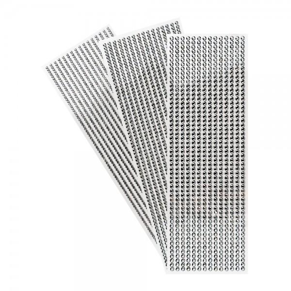 Schmuckstein-Bordüren, metallic, 10cm x 30cm, verschiedene Größen, facettiert, anthrazit, 3 Bogen