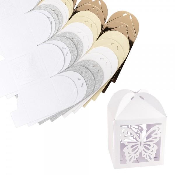 Faltboxen Schmetterlinge, 250g/m², 7,2cm x 7,2cm x 10cm, versch. Farben & Papiere, 10 Stück