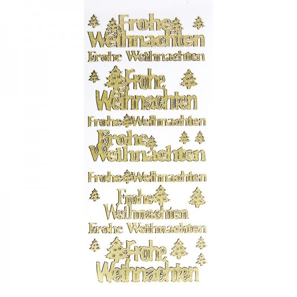 Sticker, Frohe Weihnachten, Diamantfolie, gold