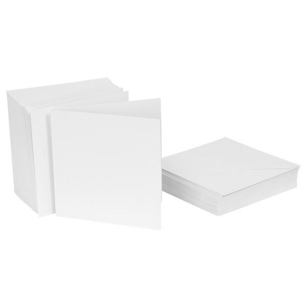 Klappkarten-Set, weiß, 14,5cm x 14,5cm, 240g/m², inkl. Umschläge, 50 Stück