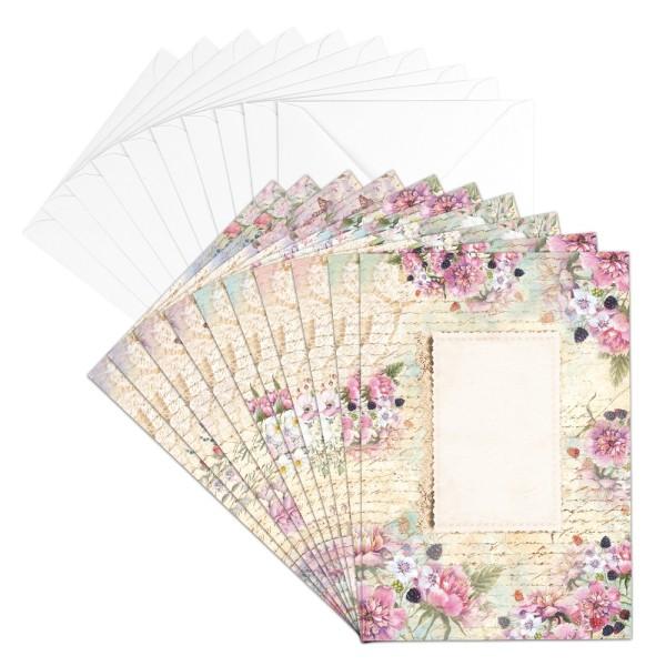 Motiv-Grußkarten, Blütentraum 5, B6, 230 g/m³, 5 Designs, inkl. weißen Umschlägen, 10 Stück