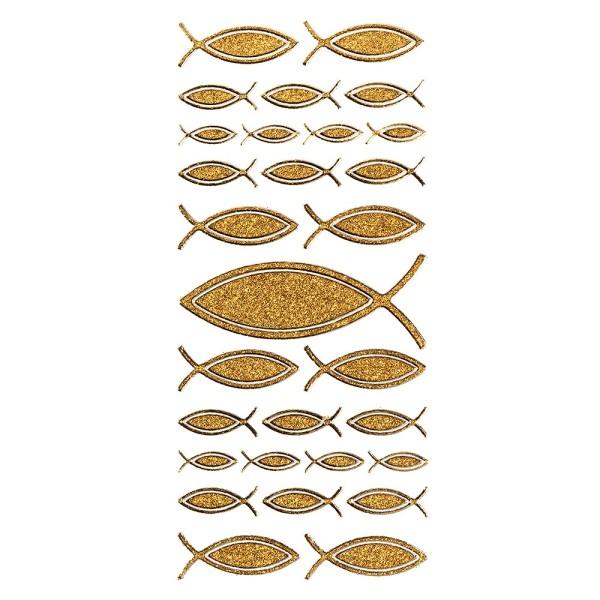 Microglitter-Sticker, Fisch, gold