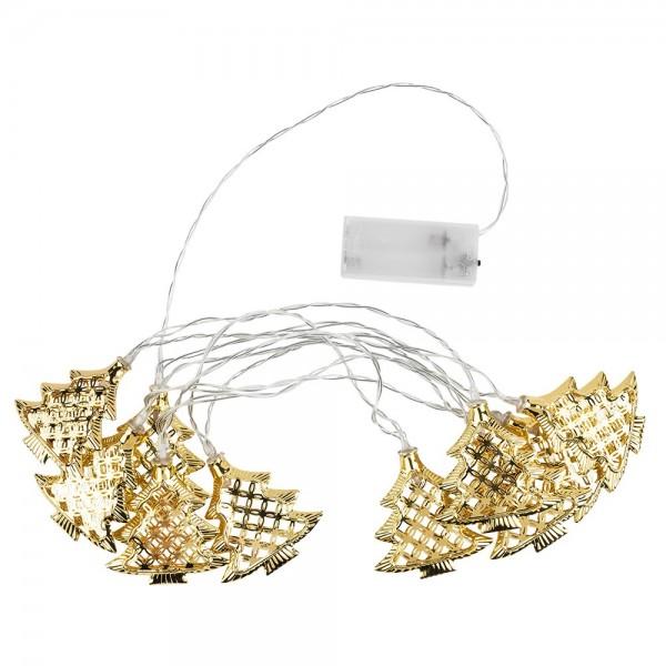 LED-Tannenbaum-Lichterkette, 10 LED-Lämpchen warmweiß mit goldenen Tannenbäumen