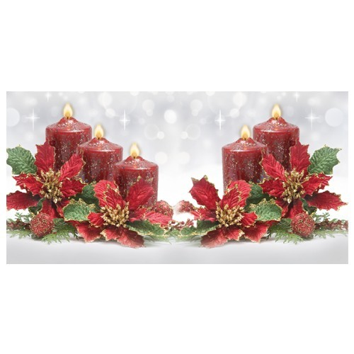Deko-(Lichtwürfel)-Karte, 11x11 cm, Kerzen, Weihnachtsstern