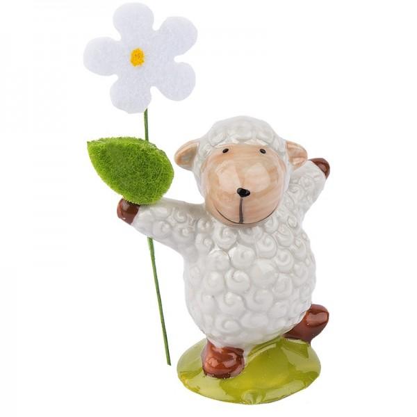 Deko-Schaf mit Filzblume 3, Porzellan, 6cm