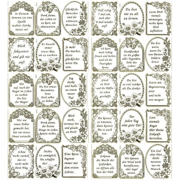 "Gravur-Sticker, Sprüche, ""Positives Denken"", 10 Bogen"