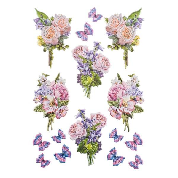 3-D Relief-Sticker, Blaue Blüten 5, verschiedene Größen, selbstklebend