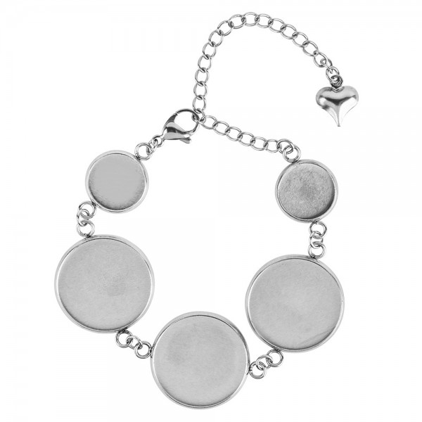 Armband mit 5 Fassungen, 21,5 cm lang, Fassungen in 2 verschiedenen Größen, silber
