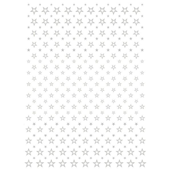 Metallic-Bügeltransfer, Hintergrund, Sterne, 25cm x 34cm, silber glänzend
