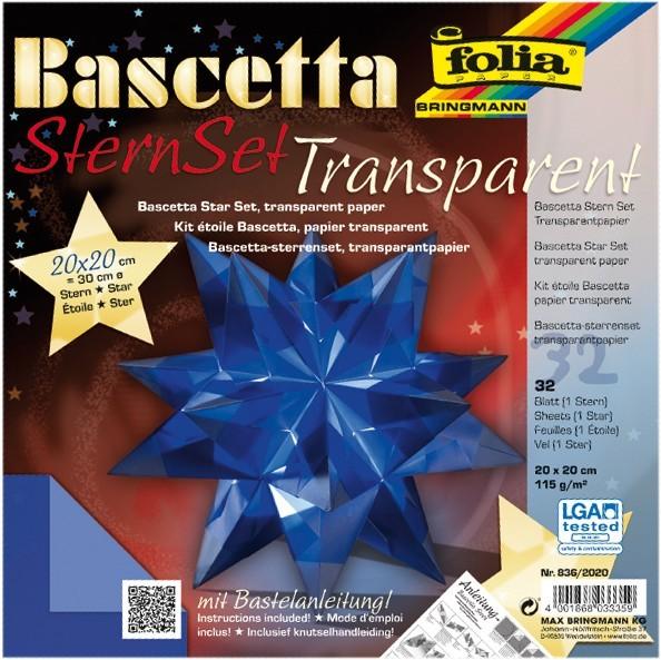 Bascetta Stern Set, transparent, 20x20cm, 32 Blatt, blau