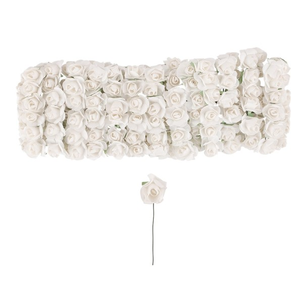 Deko-Blüten, Rosen, Ø 1cm, weiß, 144 Stück