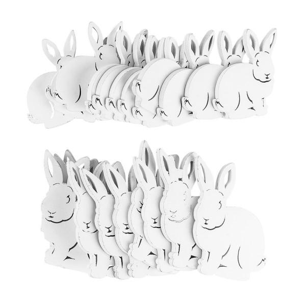 Hasen, Holz, 5,3cm x 6cm und 7cm x 8cm x 0,5cm, weiß, 22 Stück