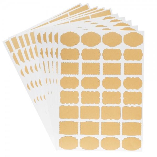 Kraftpapier-Etiketten, DIN A4, 320 Stück in 16 verschiedenen Formen, selbstklebend, 10 Bogen