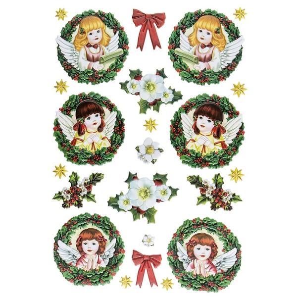 3-D Relief-Sticker, Engelchen 3, verschiedene Größen, selbstklebend