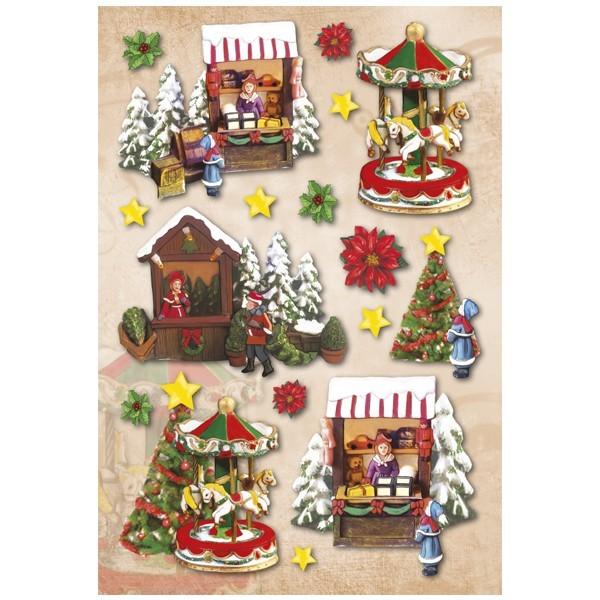 3-D Stickerbogen, Weihnachtsmarkt, 12,5 x 18,5 cm