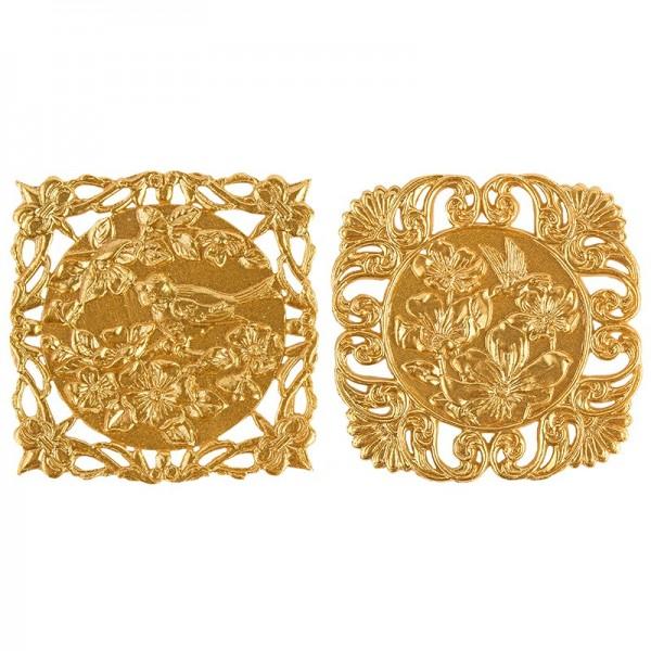Wachs-Zierdeckchen, Blumen, 10 Stück, gold