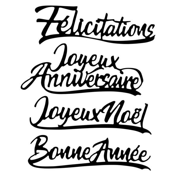 Stanzschablonen, Schriften, Französische Glückwünsche, 4 Stück
