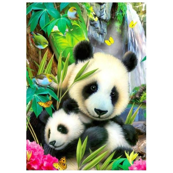 5D Diamond Painting, Pandabären, 25cm x 35cm, Motivleinwand, runde Steinchen, inkl. Werkzeug