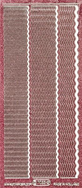 Microglitter-Sticker, Wellen-Linien, 3 Breiten, rosa