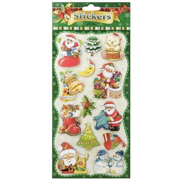 3-D Stickerbogen, Weihnachtsmotive 3, 14 x 27 cm