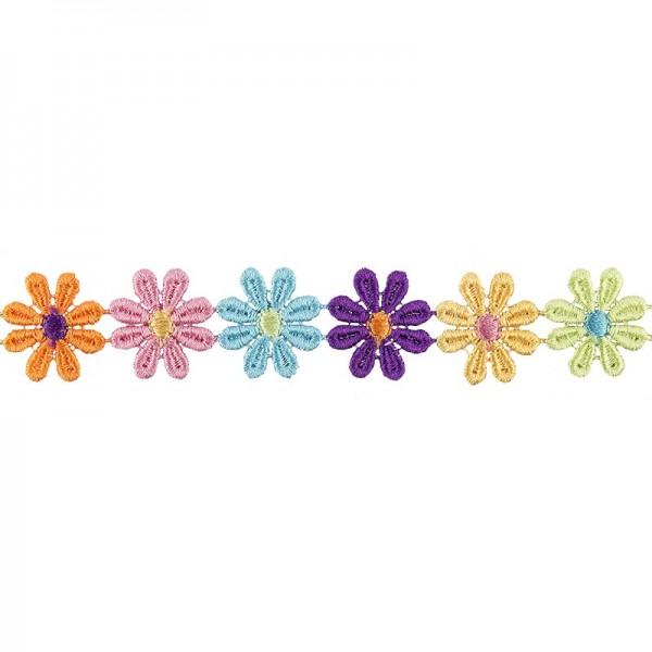 "Stoffblüten-Band ""Flower Power"", 2,5cm breit, 1m lang"