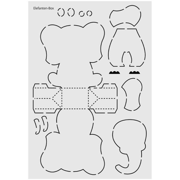 "Design-Schablone Nr. 6 ""Elefanten-Box"", DIN A4"