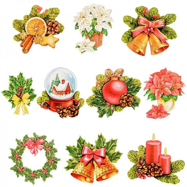 3-D Motive, Weihnachten, handgemalt, Gold-Gravur, 6-8cm, 10 Motive