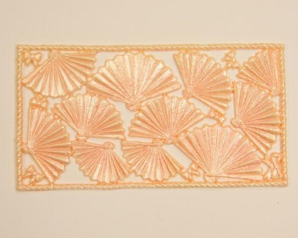 Wachsornament-Platte Fächer, 16 x 8 cm, lachs-perlmutt mit Glimmer
