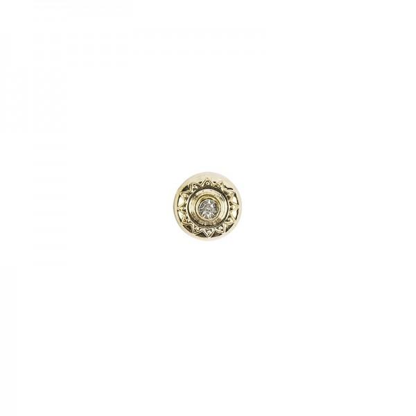 Premium Schmucksteine, Strass-Zierstein 1, Ø 1,4 cm, mit Glas-Kristallen, gold, 50 Stück