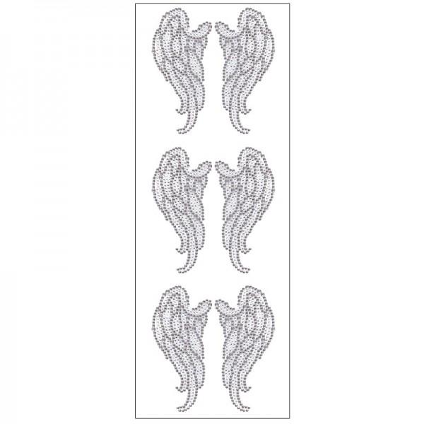 Kristallkunst, Flügel, selbstklebend, 10cm x 30cm, klar irisierend, anthrazit