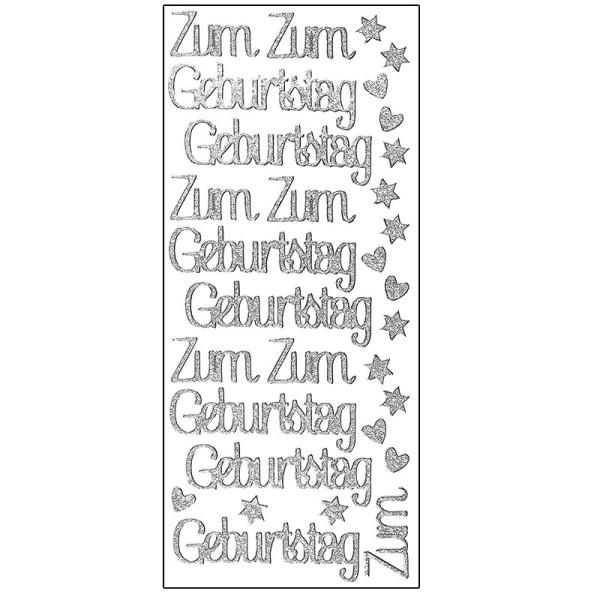 Microglitter-Sticker, Zum Geburtstag, silber