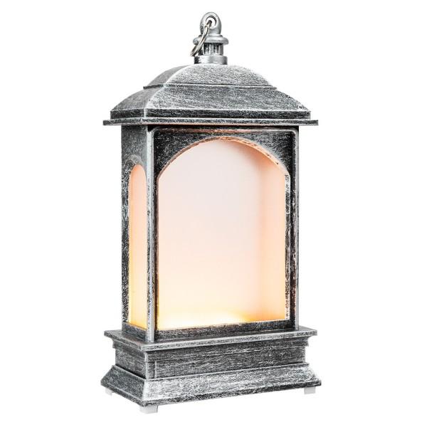 LED-Laterne mit Flackereffekt, 6,9cm x 13,5cm x 3,8cm, Schmiedeeisenoptik, silber-schwarz