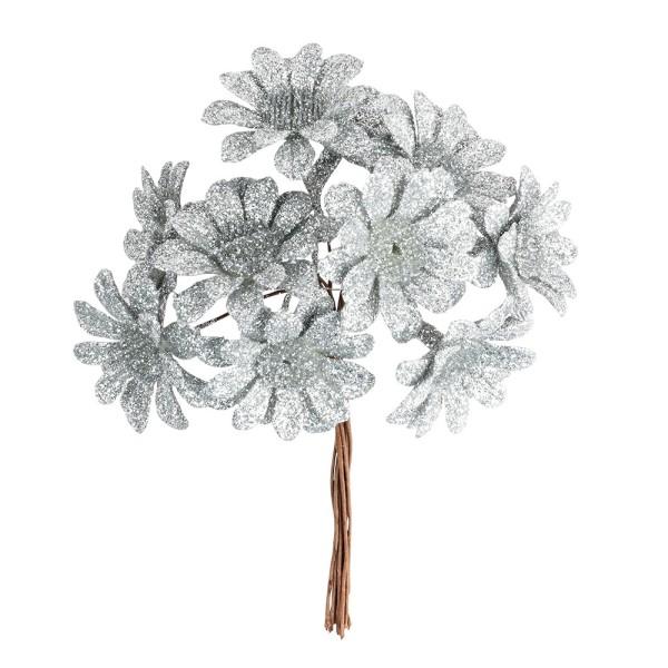 Deko-Zweige, Blüte 2, 10cm lang, am Draht, silbener Glimmer, 10 Stück