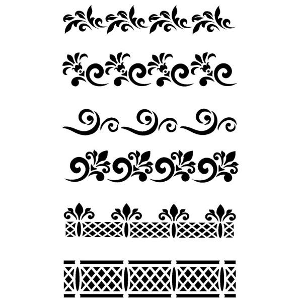 Laser-Kunststoff-Schablone, DIN A4, Bordüren-Ornamente