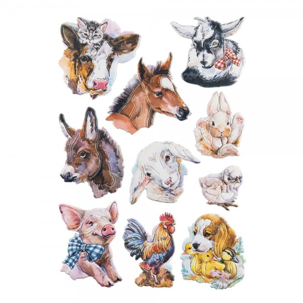 3-D Relief-Sticker, Tiere 5, verschiedene Größen, selbstklebend