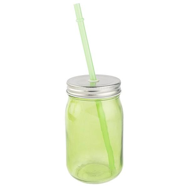 Trinkglas mit Deckel und Trinkhalm, 7,5cm x13cm x7,5cm, grün