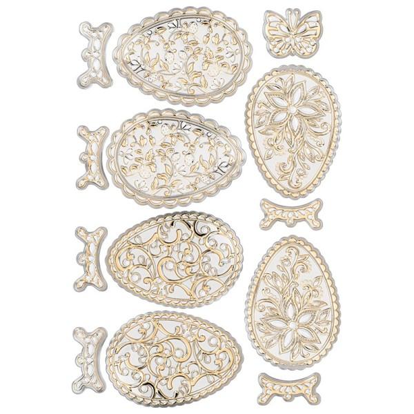 Relief-Sticker, Ostereier 2, DIN A4, metallic-hellgold, selbstklebend
