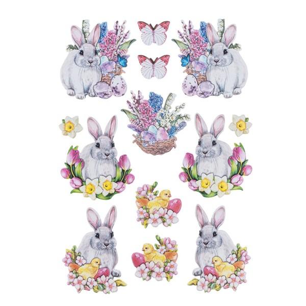 3-D Relief-Sticker, Niedliche Hasen 3, 21cm x 30cm, verschiedene Größen, selbstklebend