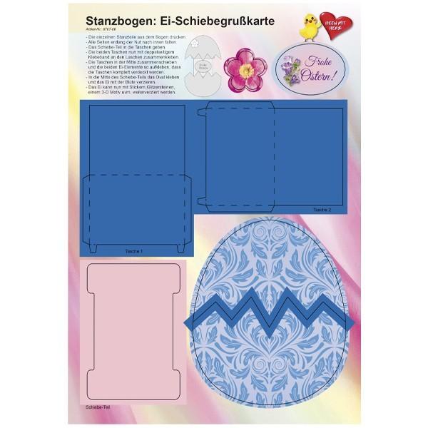 Stanzbogen, Ei-Schiebegrußkarte, DIN A4, Design 6