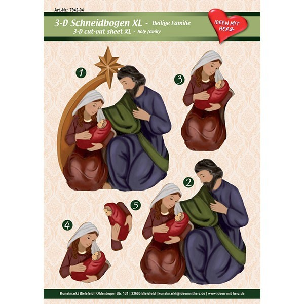 3-D Bogen XL-Heilige Familie, zum Ausschneiden