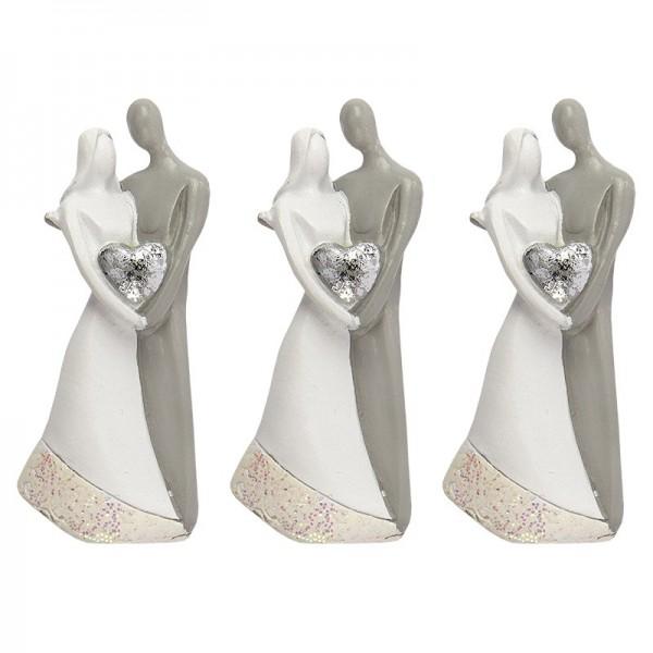 Deko-Figuren, Brautpaar 1, 6cm x 2,6cm x 1,4cm, 3 Stück