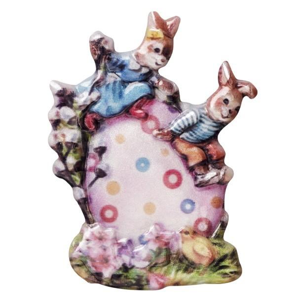 Wachsornament Osterhasenkinder auf Ei, farbig, geprägt, 6-7cm