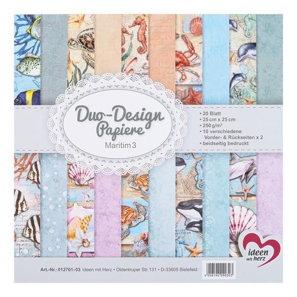 Duo-Design-Papiere, Maritim 3, beidseitig bedruckt, 25cm x 25cm, 250g/m², 20 Blatt