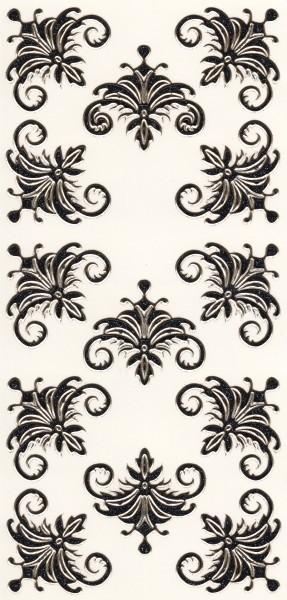 Microglitter-Sticker, Schnörkelornament 1, anthrazit