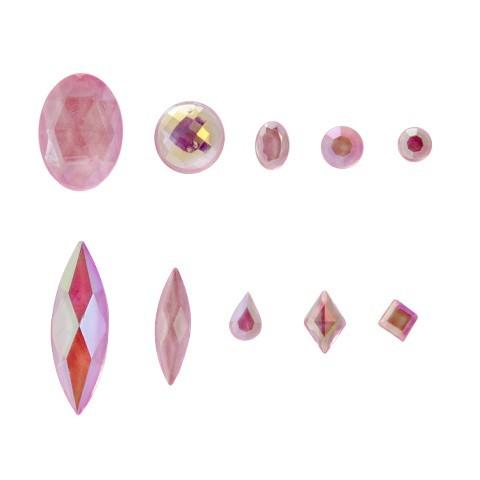 Kristalle, 1000 Stück, verschiedene Formen, rosa-irisierend