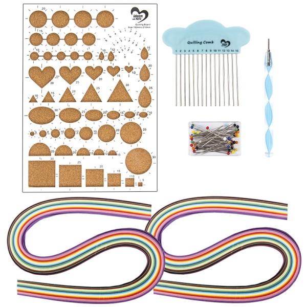 Quilling-Bastelpackung inkl. 240 Papierstreifen & Werkzeug