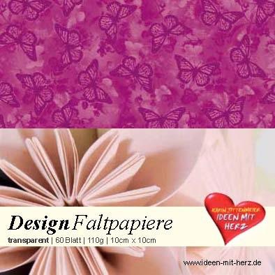 Design Faltpapier, transparent, 10 x 10 cm, 60 Blatt