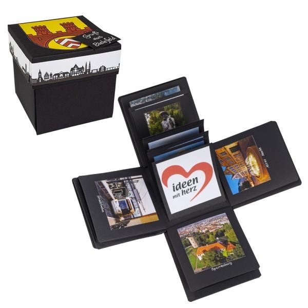 Überraschungsbox, mit Album, 12,5cm x 12,5cm x 12,5cm, schwarz